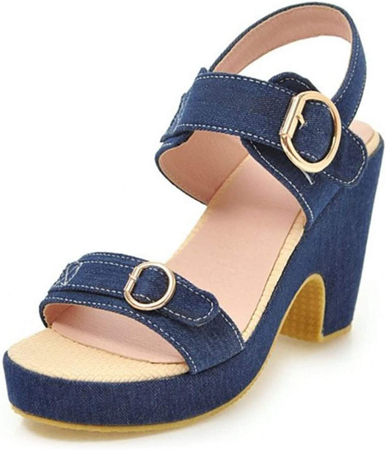 Hiviay Women Sandals Summer Breathable Thick High Heels shoes Open Toe Buckle