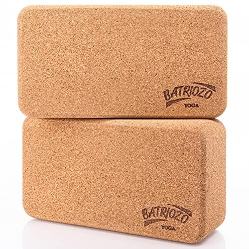 Batriozo Yoga Block 2er Set - Extrem rutschfest & Stabil - Yoga Klotz Zubehör für Anfänger und Fortgeschrittene - Yoga Block Kork 2er Set