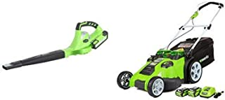 Greenworks 40V 150 MPH Cordless Sweeper, 4.0 AH Battery Included 24212 with  20-Inch 40V Twin Force Cordless Lawn Mower, 4.0 AH & 2.0 AH Batteries Included 25302