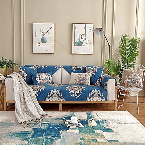 Hybad Funda de Sofa Chaise Longue,Protector de sofá de Primavera y Verano,Toalla de cojín de sofá Leater,Cubierta de sofá de Tela de Sala de Estar Moderna,sofá de Chenilla Saver-Blue_90 * 210cm