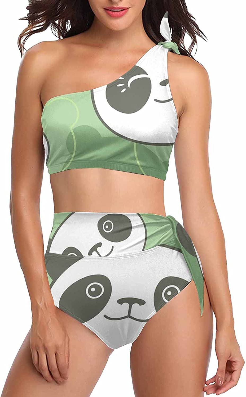 InterestPrint Cute Hedgehog Pattern Women Swimsuits 2 Pieces Tie Crop Bikini Sets One Shoulder Swimwear