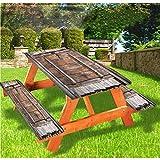 LEWIS FRANKLIN - Cortina de ducha vintage de lujo para picnic, mantel de madera rústica con borde elástico, 70 x 72 pulgadas, juego de 3 piezas para mesa plegable