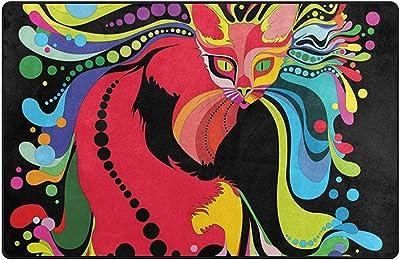 Multicolor 120 x 160 cm Naanle 60 x 90 cm 2 x 3 dormitorio cocina Alfombra antideslizante con dise/ño de calavera mexicana para sal/ón comedor dise/ño de calavera y flores