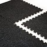 """CAP Barbell 24"""" x 24"""" Interlocking Puzzle Mat (6 Piece), Recycled Rubber Top, 12 mm Thick"""
