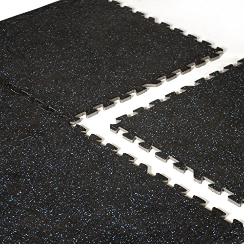"CAP Barbell 24"" x 24"" Interlocking Puzzle Mat (6 Piece), Recycled Rubber Top, 12 mm Thick"