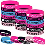36PCS Cheerleading Party Rubber Bracelets, Sport Cheerleading Game Girl Cheer Dance Party Baby Shower Birthday Party Supplies Decorations Gifts Goodie Bag Favors Inspirational Silicone Wristbands