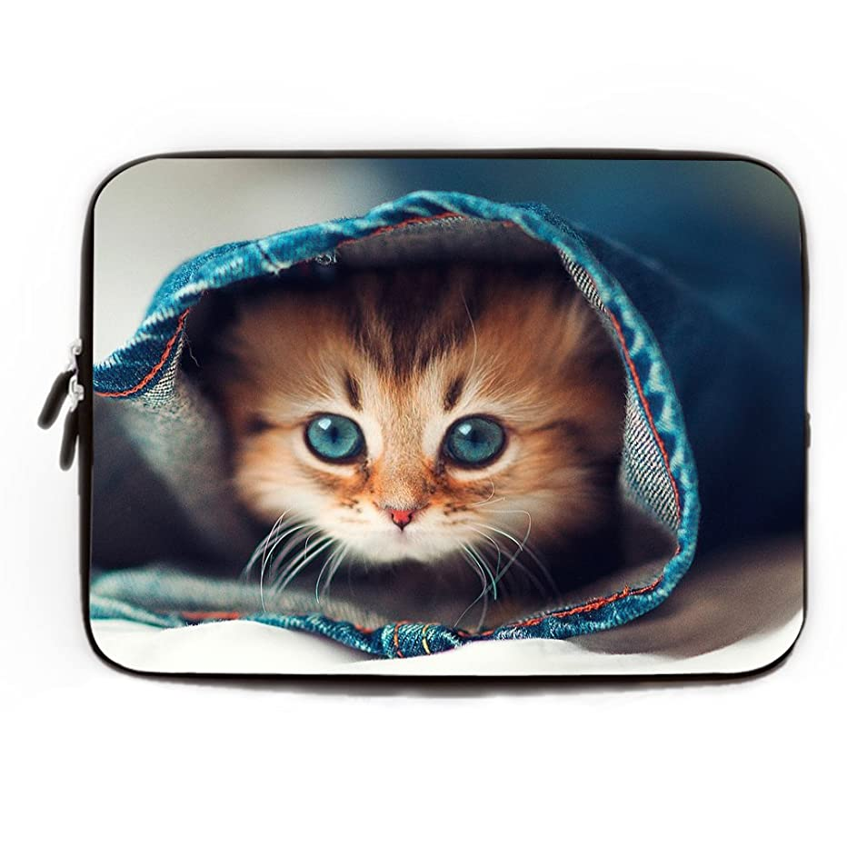 Art Cute Cat Laptop Sleeve 11.6 12 Inch Waterproof Neoprene Laptop Case 11.6 Macbook Air Gifts for Young Women Netbook Envelope Carrying Protector Cover Slim Chromebook Case