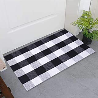 Buffalo Plaid Rug Indoor Outdoor Buffalo Check Rug, Farmhouse Rugs for Doorway Kitchen/Bathroom/Front Porch/Decor - Layered Welcome Plaid Rug Doormats (24