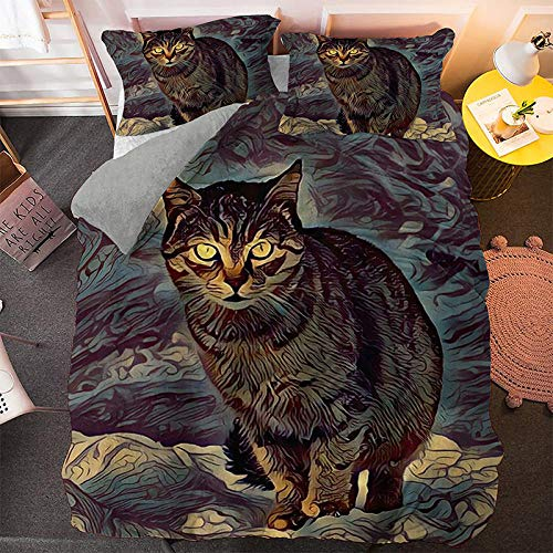 NNDHYS Pet Cats Printed 3d Bedding Set Animals Home Decor Queen King Twin Size Polyester Bedclothes Soft Duvet Cover Pillowcase BS1323 Full 203x208cm