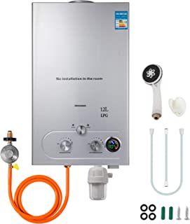 Happybuy Propane Hot Water Heater 12L Tankless Propane Water heater 3.2GPM Propane Tankless Water Heater 24KW Upgrade Type with Shower Head Kit and Water Filter and Gas Regulator