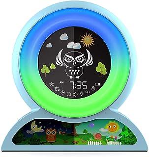 Réveil pour enfants, entraîneur de sommeil pour enfants Nincee pour tout-petits, réveil lumineux avec 5 couleurs changeant...