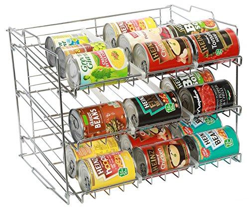 Amtido Organizador de latas apilable de 3 niveles, organizador de cocina para artículos enlatados, acabado cromado