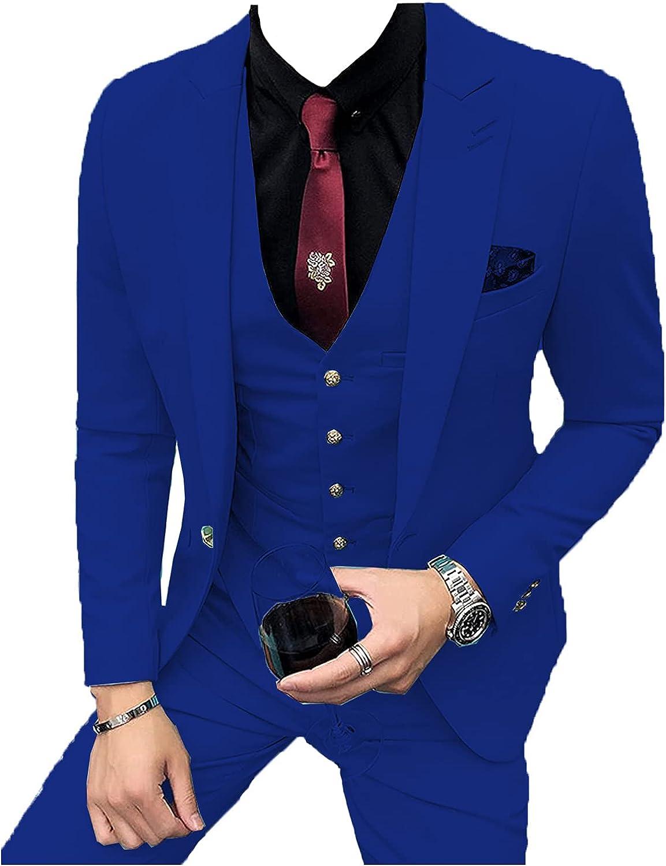 Men's 3 Pieces Formal Mens Suit Slim Fit Notch Lapel Solid Tuxedos Groomsmen(Blazer+Vest+Pants)