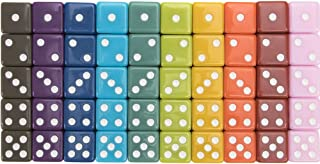 50-Pack Solid 6-Sided Game Dice, 10 Sets of Vintage Colors, 16mm Dice for Board Games and Teaching Math by Brybelly