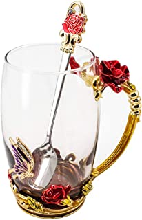 Glass Tea Mug with Spoon, Lead Free Handmade Enamel Rose Flower and Butterfly Clear Glass Coffee Cup, Unique Christmas Birthday Gift Ideas for Mom Women Grandma Female Friend Mother's Day 12oz