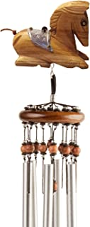 Lucky Talisman Wind Chimes Horse Feng Shui Teak Wood Carving Handmade Aluminum Metal Tubes Size Medium 3 x 21.6 Gift and Souvenir of Thailand for Your Terrace, Patio, Garden, and Outdoor Home Decor.