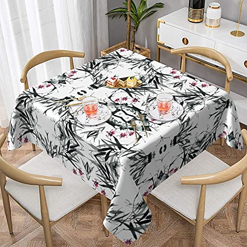 Manteles Manteles Bamboo Stems Cherry Blossom Tablecloth,Waterproof & Wrinkle Resistant Washable Fabric Table Cloth for Parties,Weddings, Kitchen,Buffet Parties and Camping.