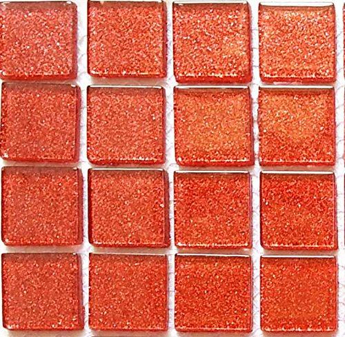 tessere di mosaico in vetro trasparente Matte in arancio/rosso scuro con Glitter. Travestimento per pareti (mt0017)