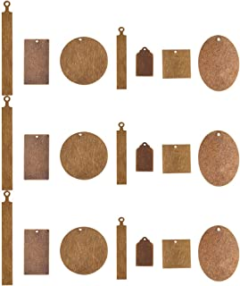PandaHall Elite 42 Pcs 7 Styles Brass Flat Blank Stamping Tag Pendants Charms for Necklace Bracelet Jewelry DIY Craft Making Antique Bronze