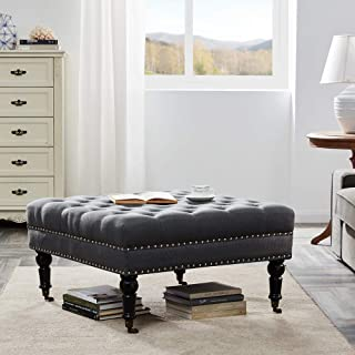 """BELLEZE 33"""" Square Tufted Button Bench Ottoman Nailhead Trim Linen Fabric Foot Rest Stool/Seat for Bedroom and Hallway, Wood Legs & Rolling Wheels, Deep Grey"""