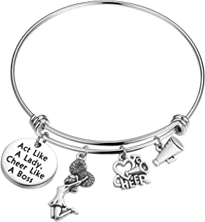Cheerleading Gift for Girls Act Like a Lady Cheer Like a Boss Bangle Bracelet Cheer Jewelry for Cheer Leaders, Cheer Coaches