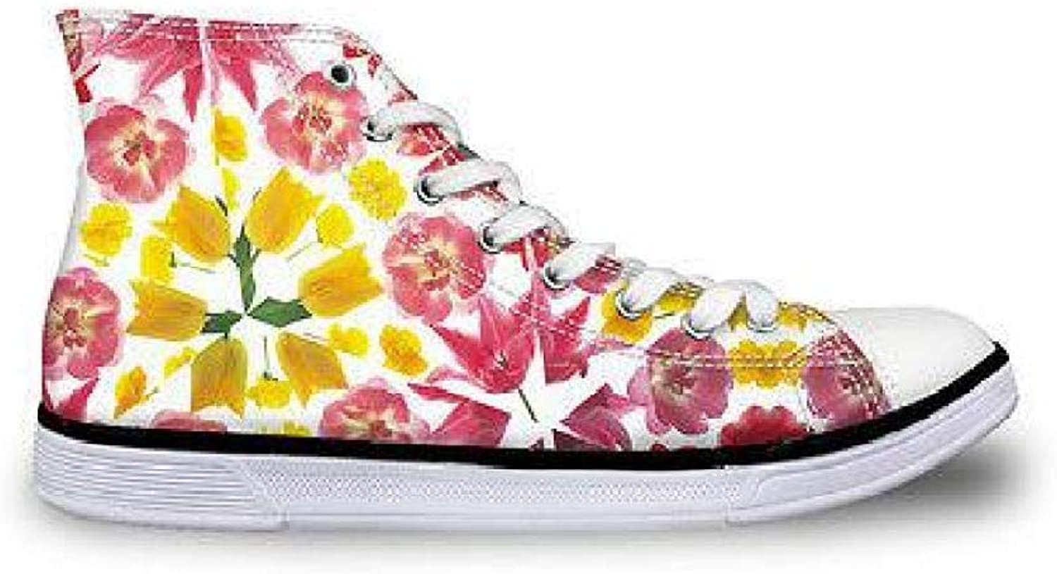 FidgetFidget High Top Sneakers Women Classic Floral Canvas AnklBoots Summer Casual shoes Yellow Flower with CC2074AK US 10