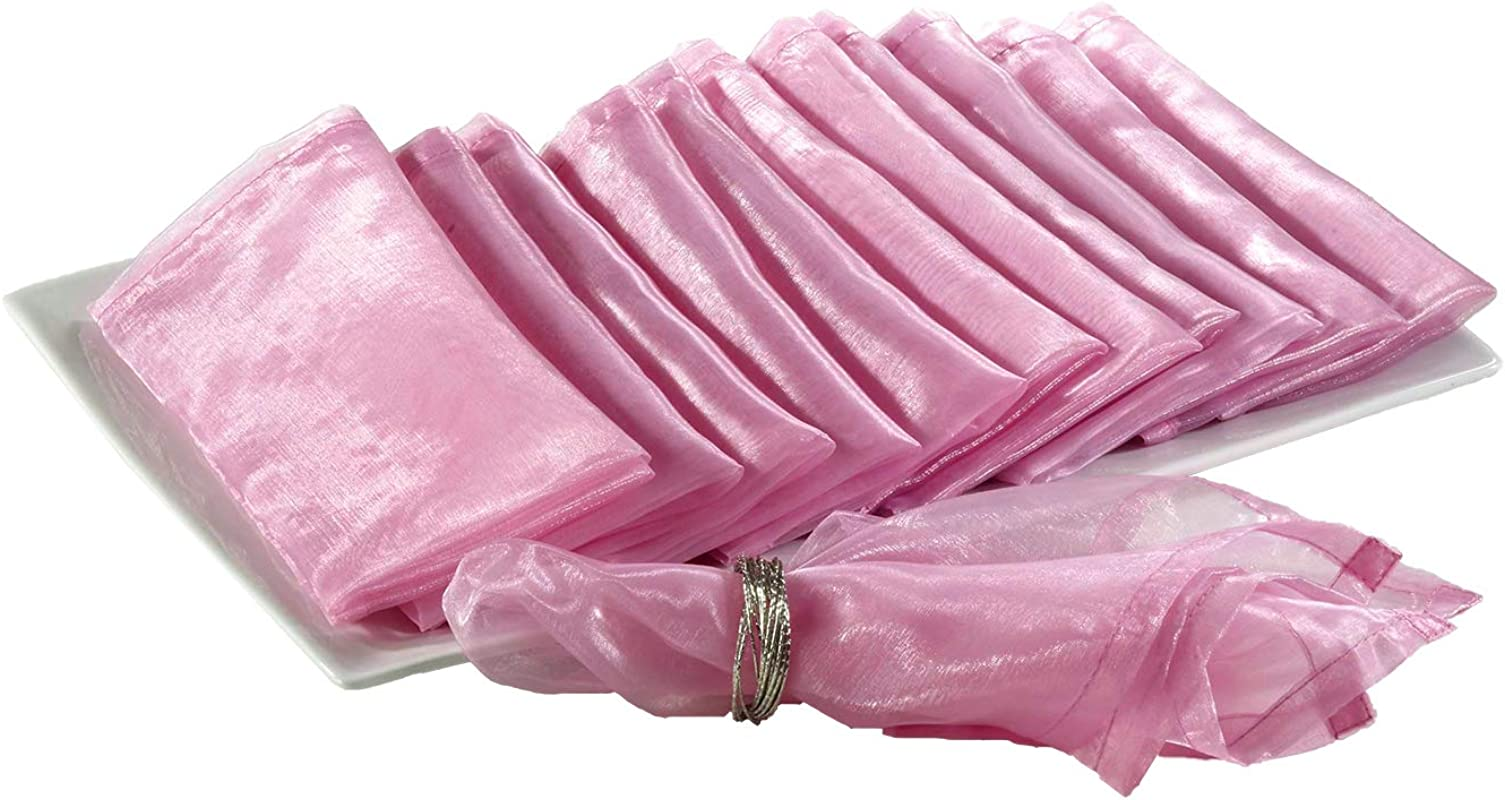 Fennco Styles Sheer Decorative Organza Dinner Napkins 20 Inch Square Set Of 12 Pink