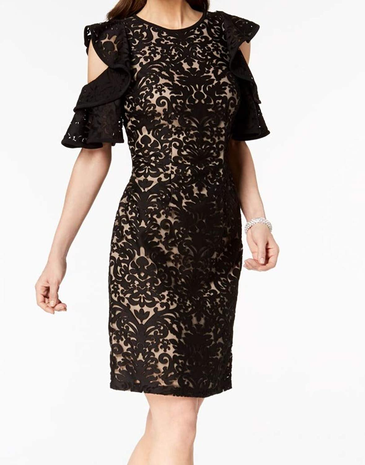 Xscape Womens Lace Cold Shoulder Cocktail Dress