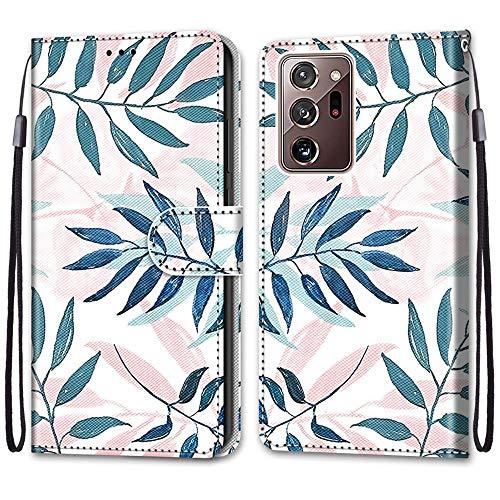 Nadoli Handyhülle Leder für Samsung Galaxy Note 20 Ultra,Bunt Bemalt Rosa Grün Blätter Trageschlaufe Kartenfach Magnet Ständer Schutzhülle Brieftasche Ledertasche Tasche Etui