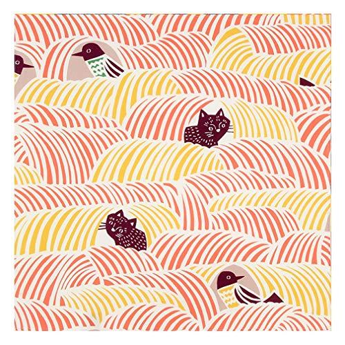 [キステ] 風呂敷 ふろしき むす美 こはれ 綿100% 45cm 猫 モダン 小風呂敷 日本製 タペストリー (猫と鳥 ピンク)