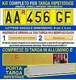 Grafilandia Kit Targa ripetitrice per rimorchi e carrelli appendice, corredata di Lettere ...