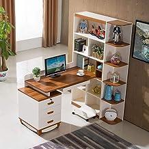 Simple Solid Wood Desk, Corner Computer Bookcase with Bookshelf Combination Home Children's Study Room Desktop Computer Desk