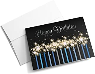 Blue Birthday Sparklers - Birthday Cards | 25 Standard Greeting Cards with Your Custom Message and Envelopes | Printed in the USA
