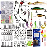 Saltwater Fishing Tackle Kit -212pcs Ocean Fishing Gear Accessories Included Fishing Bait Rigs Hooks Minnow Lures Spoons Swivels Snaps Weights Wire Leaders Floats Beads Surf Fishing Equipment Box
