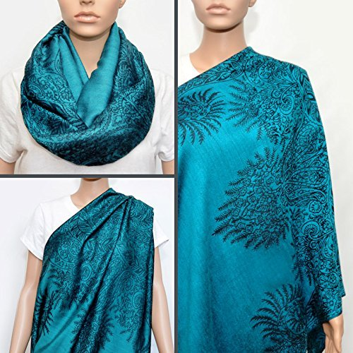 Best Review Of Nursing Cover - Nursing Scarf - Nursing Infinity Scarf (Floral Turquoise)