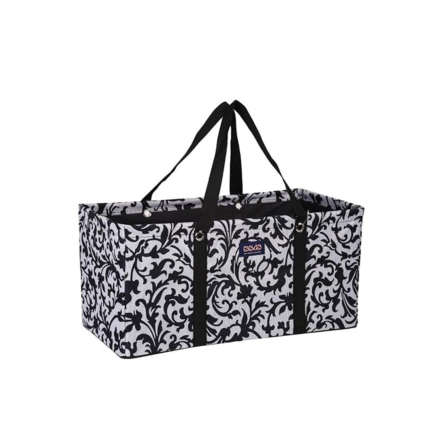All Purpose Utility Tote/Utility tote/Large tote/Beach Bag/Reusable Shopping Bags (Black/White Flowers-R007, 22