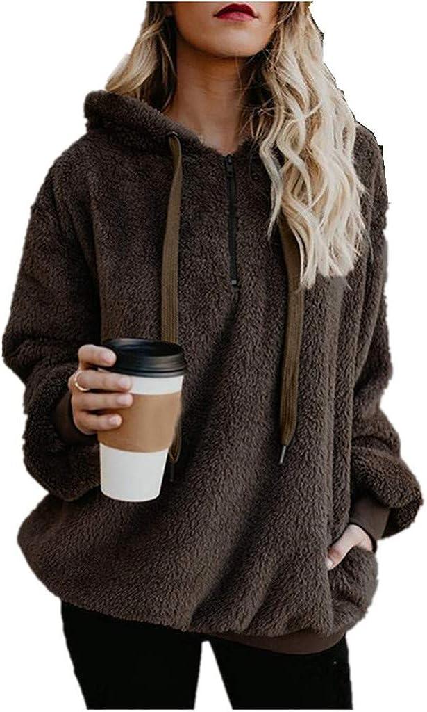 lucyouth Hoodies for Women Casual Double Fuzzy Sherpa Sweatshirt Zipper Pockets Long Sleeve Pullover Winter Coat Outwear