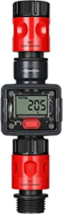 DEWENWILS Water Flow Meter for Garden Hose, Waterproof RV Water Tank Monitor Meter with LCD Display and Quick Connector, Measure Gallons Liters Usage and Flow Rate, Ideal for Faucet, Pool, Sprinkler