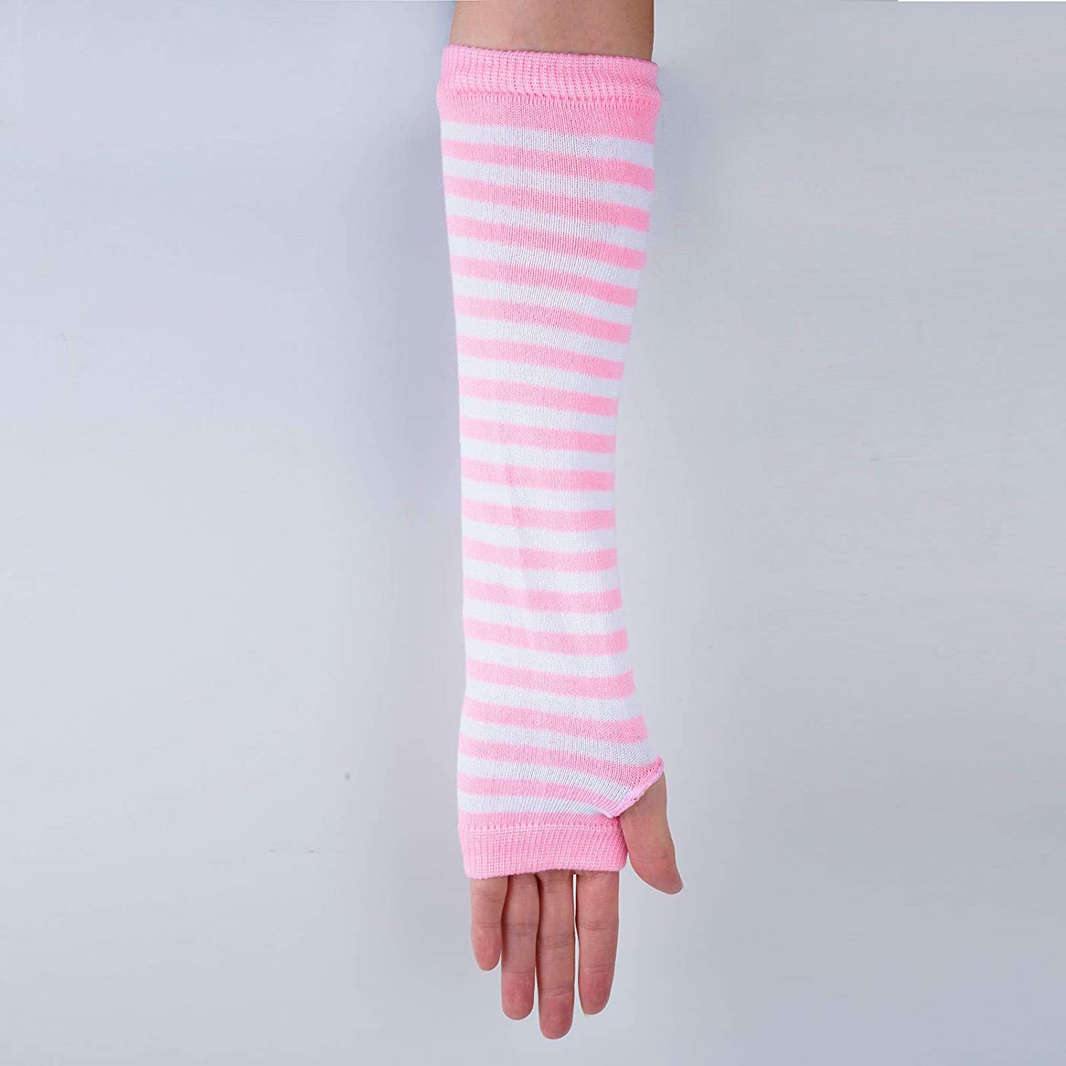 JEATHA 1 Pair Fashion Fingerless Gloves Long Elbow Mittens Knit Arm Warmer Thumb Hole Knitted Gloves for Women Girls