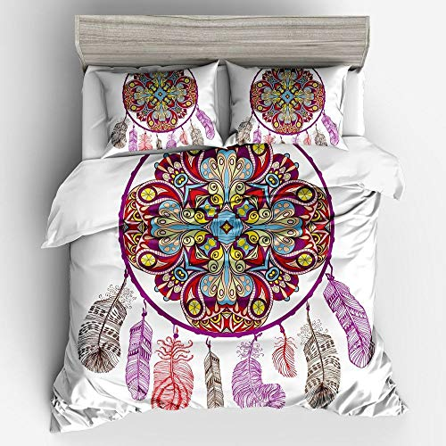 QXbecky Bohemian Ethnic Butterfly Wind Chime Bedding Set of 3, 4 Pieces 3D Digital Printing 260cm
