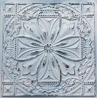TalissaDecor Faux Tin Ceiling Tile TD10 Old Black White. Sample Tile (2'X2') Easy to Install PVC Panels. Gorgeous Antique Vintage Look Ceiling. Great for Glue up/Drop in Installation.