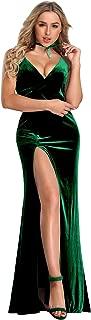 Women's Velvet Spaghetti Strap V Neck Evening Dress with Thigh High Slit 07181