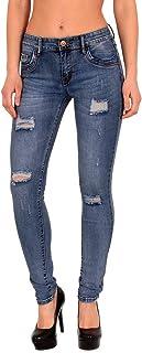 Damen Jeans Hose Röhrenjeans Hüftjeans Hüfthose Röhre Slim Skinny Stretch H11