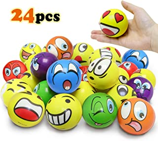 3 Inches Emoji Stress Balls, 24 Funny Face Squeeze and Bouncy Balls Bulk, Soft Stress Relief Balls Toys for Kids Emoji Party Favor, Goodie Bag Fillers, Office Props for Adults Relax (Mix Ver)