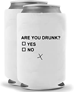 Are You Drunk   Funny Novelty Can Cooler Coolie Huggie - Set of two (2)   Beer Beverage Holder - Beer Gifts Home - Quality Neoprene No Fade Can Cooler