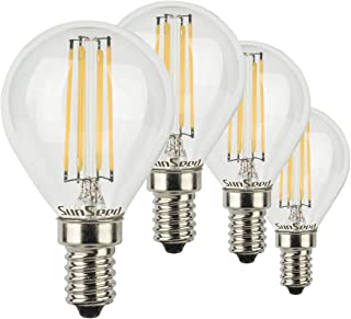 SunSeed 4x Bombilla Esférica Filamento LED E14 6W = 60W Blanco Cálido 2700K