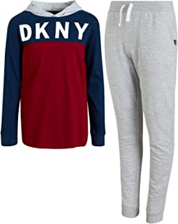 DKNY Boys Jogger Set - 2-Piece Long Sleeve Pullover Hoodie T-Shirt and Fleece Sweatpants