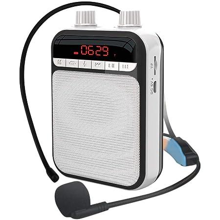 AIHOME - Amplificador de voz portátil, altavoz personal, con micrófono y auricular, recargable, ideal para profesores, guías turísticos, entrenadores, aula, cantar, instructores de yoga, fitness