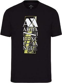 A X Armani Exchange Men's Vertical Logo Graphic Pima Cotton T-Shirt, Black, Medium