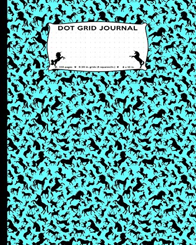 Dot Grid Journal: Large Unicorns all over pattern, Dot Grid Journal flexible precise journaling or easy drawing, games, connecting boxes, tables, ... unicorn pattern women, girls, kids, toddlers